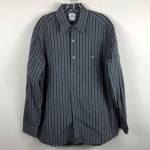 Lacoste Brown Blue Striped Button Shirt 42 Large
